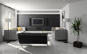 Biele obývacie steny s trendy tapetou